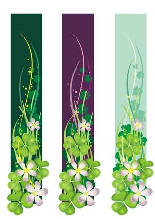 four leafed clover: Banner vertical de primavera con el florecimiento de tr�boles Vectores