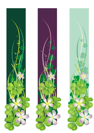 patric: Vertical Spring Banner with blooming clovers