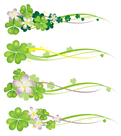 four leaf clovers: Horisontal Spring Banner with blooming clovers