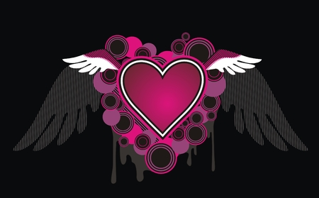 red love heart with flames: Coraz�n de emo Vectores