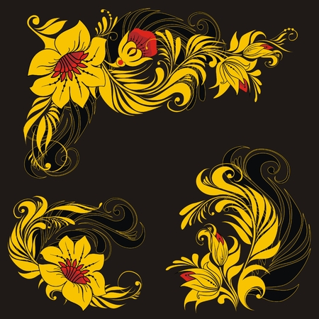 floral ornament in traditional russian style Ilustração