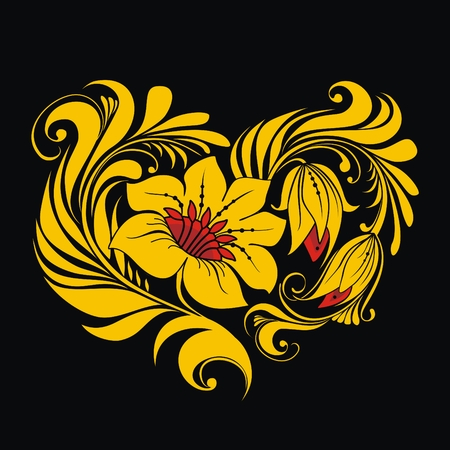 hohloma: Heart of Russian traditional floral ornament