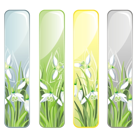Vertical Banner with spring flower Vector