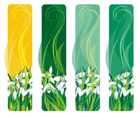 snow ground: Vertical Banner with spring flower