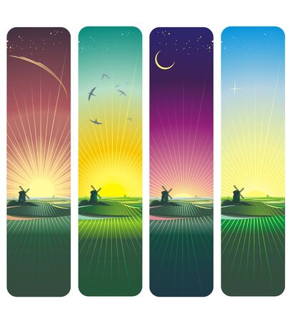 sunset and sunrise vertical banners Vector