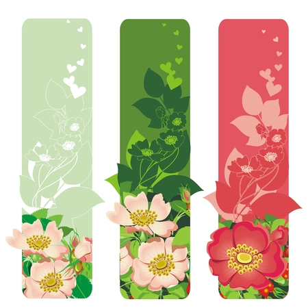 twists: Valenines day banners with flowers & leafs