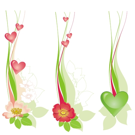 flower design: Floral decorative design with hearts