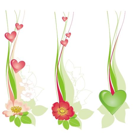 vertical garden: Floral decorative design with hearts