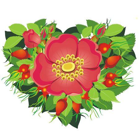 twists: Heart Shape consist of Flowers & leafs Illustration