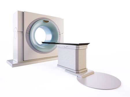 A 3D illustration of a MRI(Magnetic Resonance Imaging) scanner, isolated on white background. Banco de Imagens