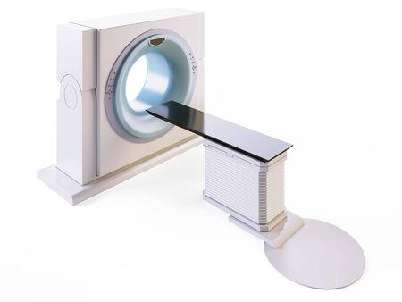imaging: A 3D illustration of a MRI (Magnetic Resonance Imaging) scanner, isolated on white background. Stock Photo