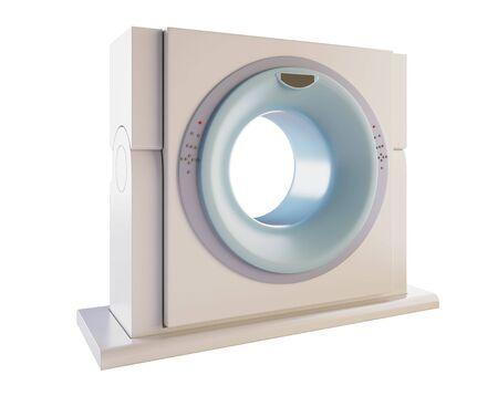 resonancia magnetica: Una ilustraci�n 3D de un esc�ner MRI (resonancia magn�tica), aislada sobre fondo blanco.