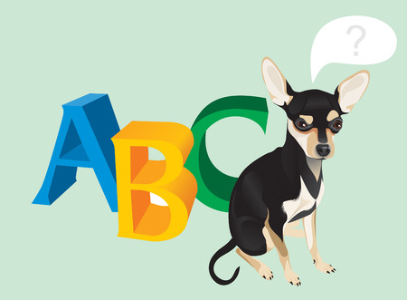 Vector illustration of the cute dog and capital letters Vector