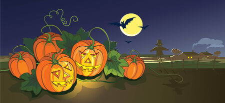 Scary Halloween illustration with pumpkins and scarecrow. Vector