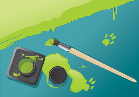 Vector composition of ink bottle and paintbrush. Vector