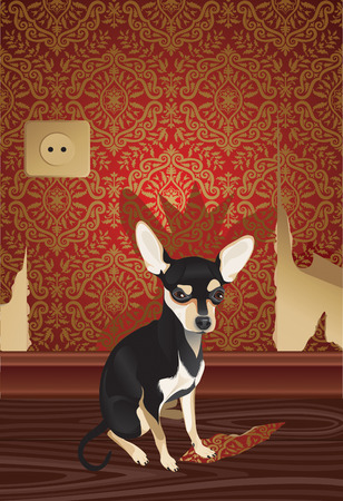 hector: Vector illustration of the cheeky cute dog with fragment of a  wallpaper.