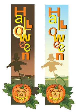 Scary Halloween vertical banners with pumpkins and scarecrow. Vector