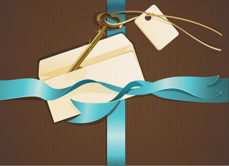 Composition of gold key, blue ribbon and letter Vector