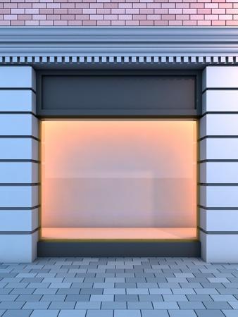 3D Abbildung von einer klassischen leere Schaufenster mit der Abend-Beleuchtung. Standard-Bild - 8675708