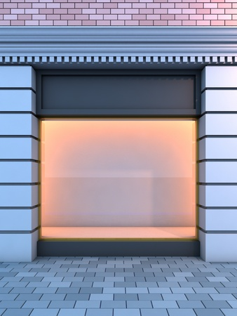 3D illustration of a classical empty storefront with the evening lighting.
