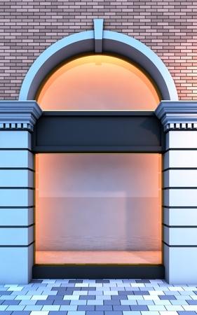 3D Abbildung von einem klassischen leere Schaufenster mit der Abend-Beleuchtung. Standard-Bild - 8675709
