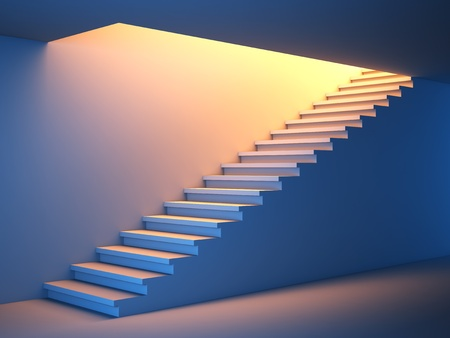 3D illustration of a stair to the future.