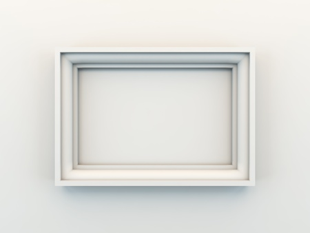 white frame: A 3D illustration of empty frame.