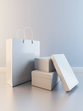 A 3D illustration of composition of paper bag and boxes for shoes Banco de Imagens