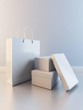 Una ilustración 3D de la composición de la bolsa de papel y cajas de zapatos