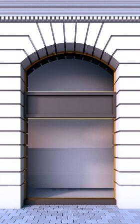 3D illustration of a classical empty storefront with the day lighting.