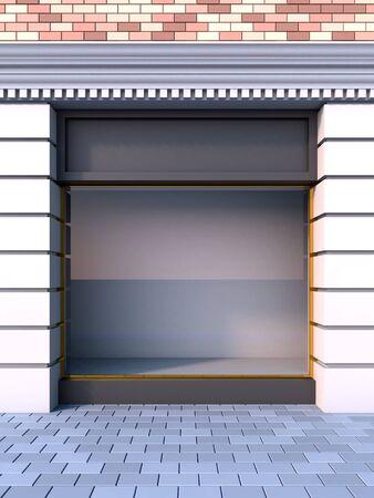3D Abbildung von einer klassischen leere Schaufenster mit der Tag-Beleuchtung. Standard-Bild - 8675699