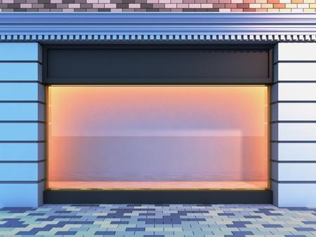 3D illustratie van een klassieke lege storefront met de verlichting van de avond. Stockfoto - 8675705