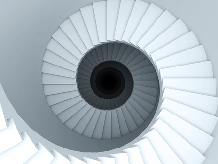 staircase structure: A 3d illustration of a spiral stair to the infinity.