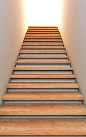down the stairs: Una ilustraci�n 3D de la escalera hacia el futuro.