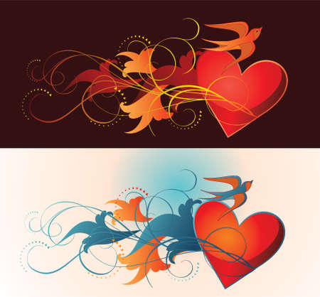 composition contains heart, floral ornament and martlet. Vector