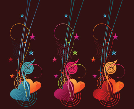 banners contains heart and swirls. Vector