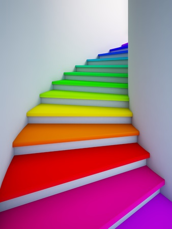 A 3d illustration of a spiral colorful stair to the future.