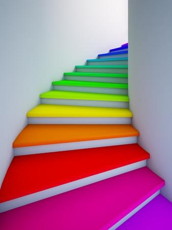 stair: Een 3d illustratie van een spiraal kleurrijke trap naar de toekomst.