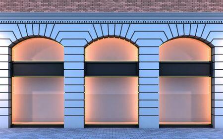 Ilustración 3D de un clásico tienda vacía con la iluminación de la noche.