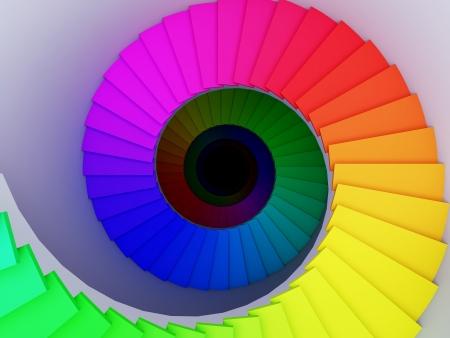 espiral: Una ilustraci�n 3d de una escalera de caracol colorido hasta el infinito. Foto de archivo