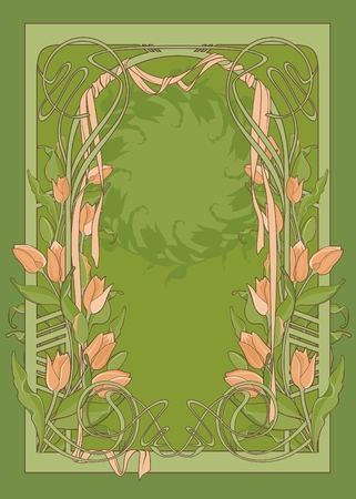 template of art deco poster with tulips and ribbon.