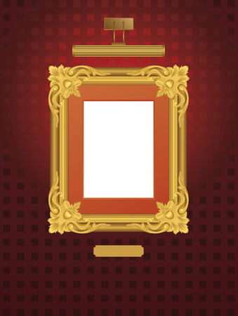 bilderrahmen gold: Illustration der klassischen Rahmen mit Lampe.