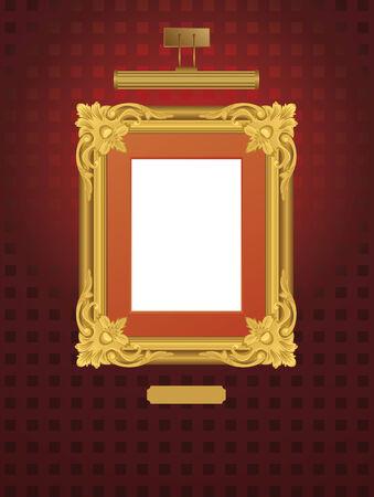 illustration of classical frame with lamp. Ilustração
