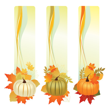 illustration of autumn banners with leafs and pumpkin.