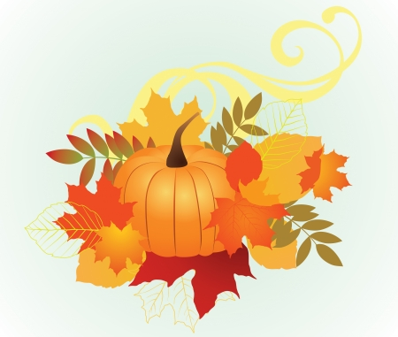 illustration of autumn leafs and pumpkin for background.