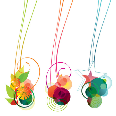 banners of flowers, bubbles and stars Stock Illustratie