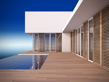 exteriors: A 3D illustration of modern house in minimalist style.