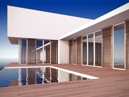 A 3D illustration of modern house in minimalist style. illustration