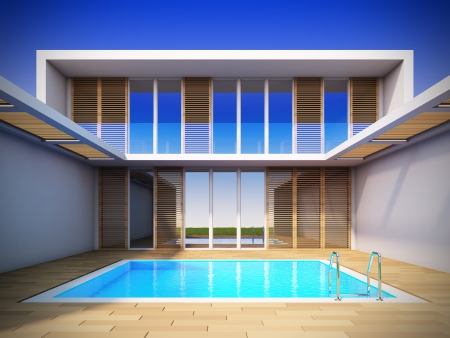 mediterranean home: A 3D illustration of modern house in minimalist style.