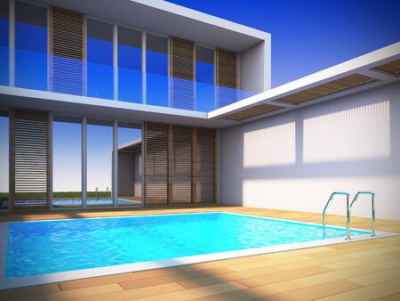 A 3D illustration of modern house in minimalist style.